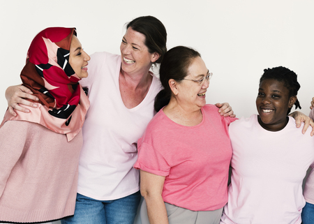 Group of girlfriends with breast cancer awareness charity Stok Fotoğraf - 80305265