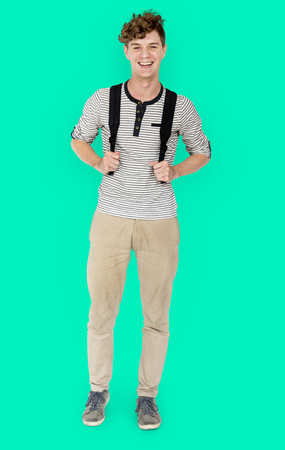 Caucasian student man standing with casual outfit