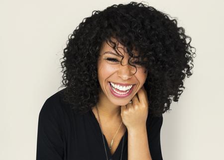 大人の女性肖像画スタジオ笑顔 写真素材