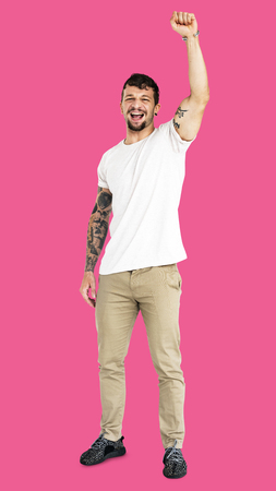 笑顔の表現スタジオ ポートレートを成人男性の手 写真素材