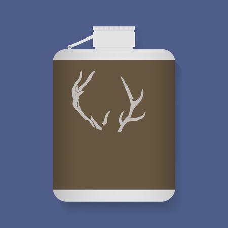 Liquor Metlaic Flask Fles Met Antler Etiket Grafische Illustratie Vector