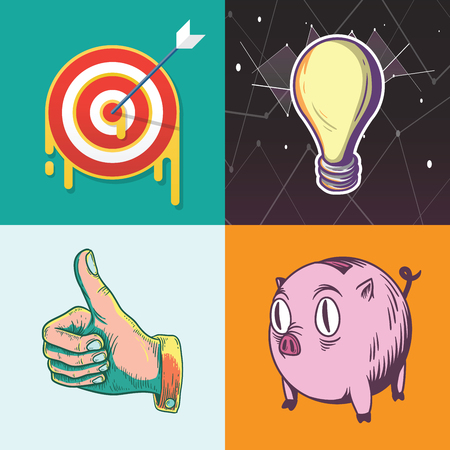 inspiring: Idea Target Savings Goals Business Investment Graphic Illustration Icon Vector