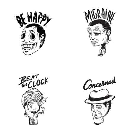 De gelukkige Betrokken Illustratie van het Gevoel van het Emotieuitdrukking Grafische Pictogram Stock Illustratie
