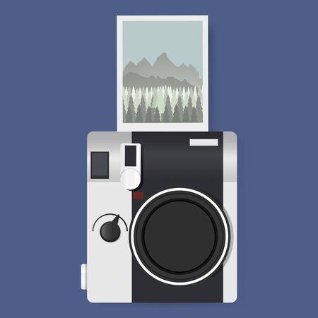 Camera Met Gevangen Foto Grafische Illustratie Vector