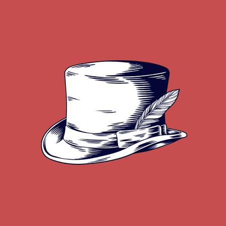 Dibujo ilustración de Vector de sombrero de Copa sobre fondo rojo