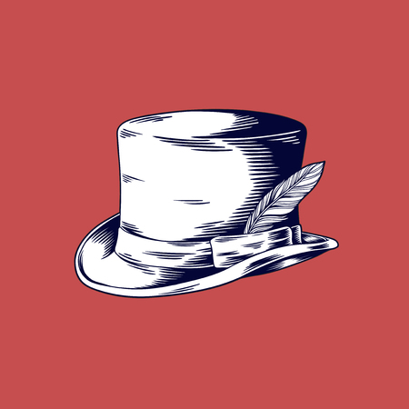 Drawing Man Top Hat Vector Illustration on Red Background Ilustracja