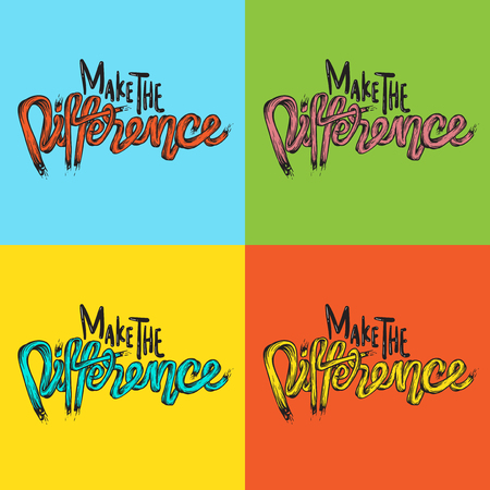 Make The Difference Life Inspiration Motivation Word Graphic Illustration Banco de Imagens - 80257514