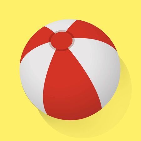 Red and White Beach Ball Vector Illustration Ilustracja