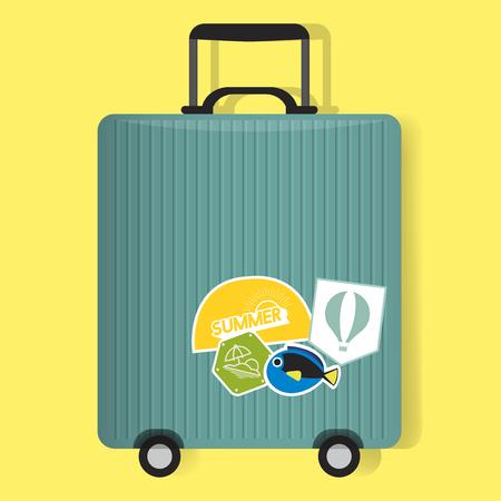 Grünes Reisegepäck-Gepäck mit Aufkleber-Vektor-Illustration Standard-Bild - 80257527