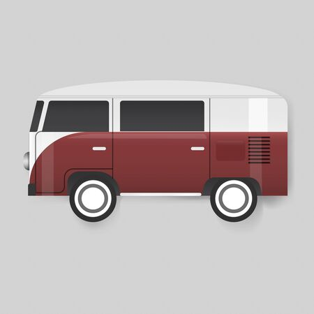 Red Van Car Vehicle Travel Graphic Illustration Vector Banque d'images - 80257528