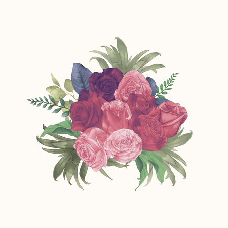 Watercolor Roses Bouquet Hand Draw Paint Bush Vector