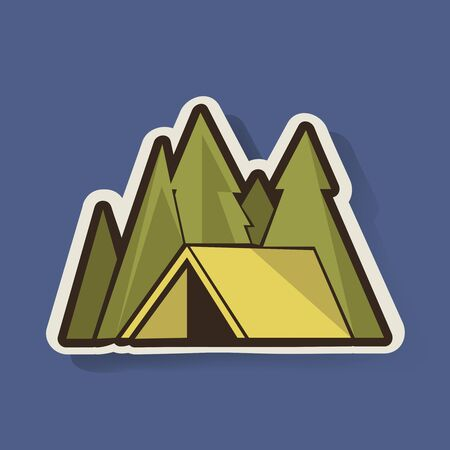 Yellow Tent with Pine Trees Camping Graphic Illustration Vector