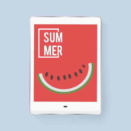 Tablet Screen Showing Watermelon Piece with Summer Word Graphic Vector 向量圖像