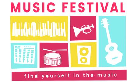 Illustratie van de vrije tijdsactiviteit van het muziekfestival