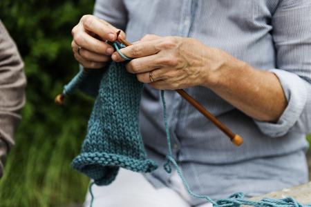 Knitting Leisure Hobby Activity Mature Stock Photo