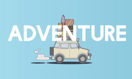 Illustration der Entdeckung Reise Road Trip Reisen Standard-Bild - 80371587
