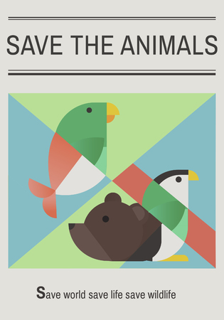 Save endangered animals icon graphic