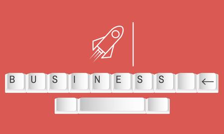 Illustration of rocket launch startup new business Imagens