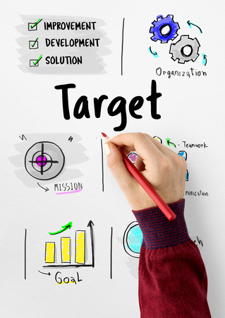 Bedrijfsdoelstellingen target idee kaartschets Stockfoto