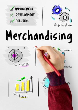 Merchandising strategia di gestione aziendale schizzo Archivio Fotografico - 80272685