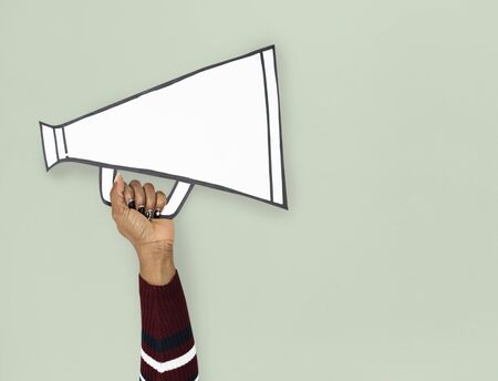 Hand Up Holding megaphone Illustration Stock Photo