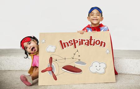 Enfants fun relie le graphique de points de l & # 39 ; avion Banque d'images - 80273748