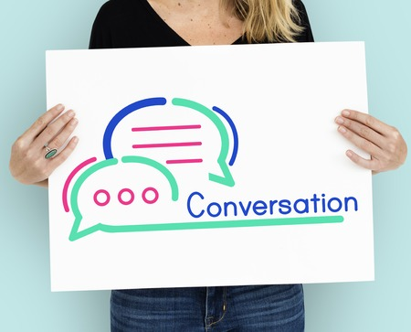 Woman with conversation concept Stock Photo