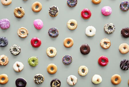 Varities of donut flavor shot in aerial view Stock fotó - 80274107