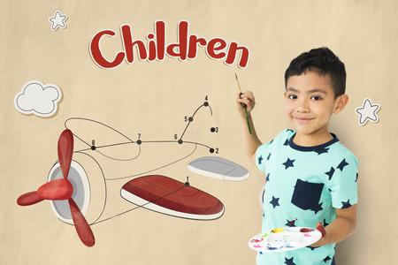 Kinder Spaß verbinden die Punkte Flugzeug Grafik Standard-Bild - 80275031