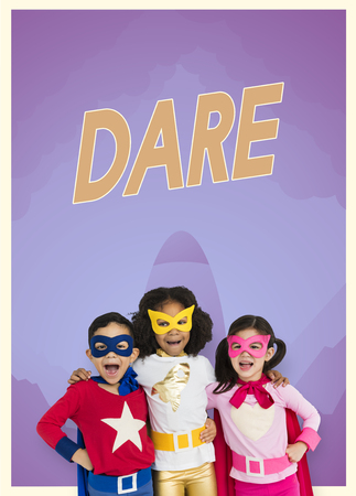 dare: Group of superheroes kids with aspiration word graphic