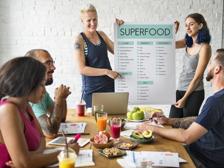 People discussion about super food Stock Photo