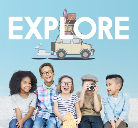 enjoyment: Children with illustration of discovery journey road trip traveling Stock Photo