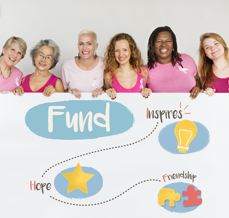 Group of women fundraising donate for charity