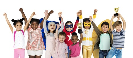 Diversity of Children Playful Cheerful Happiness Studio Isolated Фото со стока