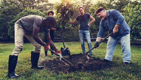 다양 한 사람들의 그룹 함께 나무 심기 구멍 심기