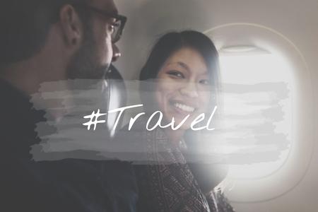 wherever: A couple is on honeymoon travel. Stock Photo