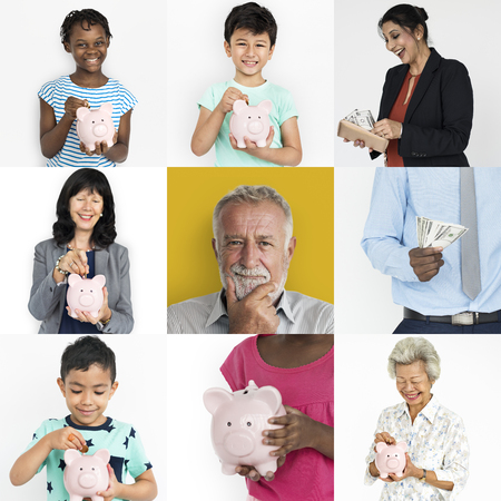 Collection of people saving money in piggy bank