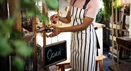 Adult Woman Open Door Hanging Open Sign