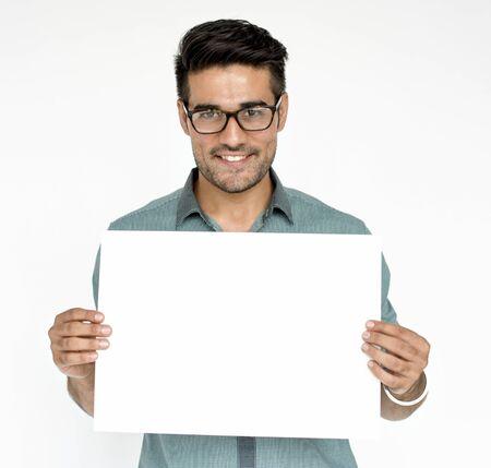 Person Holding Placard Studio Concept