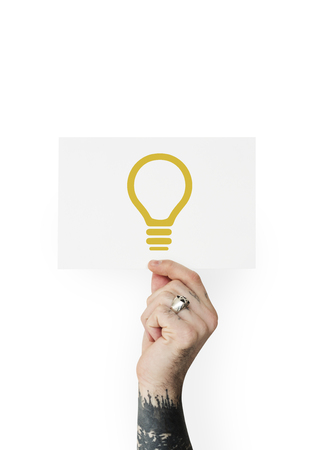 Lightbulb for ideas and creativity icon with people photoshoot Stock Photo