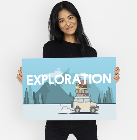 enjoyment: Woman holding illustration of discovery journey road trip traveling banner