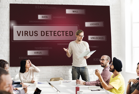 hacked: People working on network graphic overlay white board