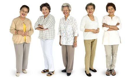 Group of Asian Senior Adult Women People Set Studio Isolated 版權商用圖片