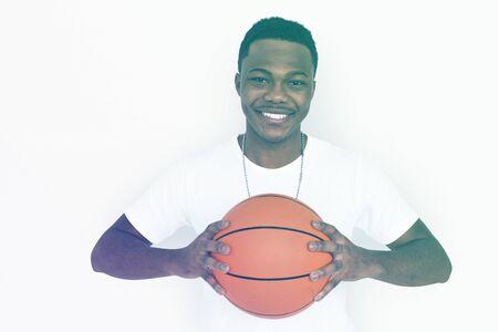 Adult Man Hands Hold Basketball Sport Studio Portrait