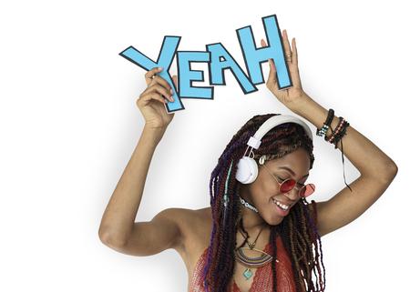 African Descent Female Yeah Headphones Imagens
