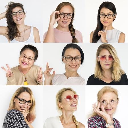 People Set of Diversity Women Wearing Eyeglasses Studio Collage
