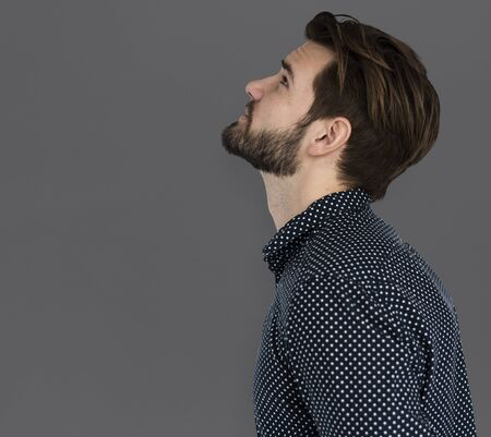 Man Curious Thinking Look up SIde View Portrait