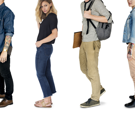 Diverse People Turn Side Set Studio Isolated Stock Photo