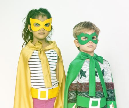 superheroes: Buddy friends schooler wearing superheroes costume