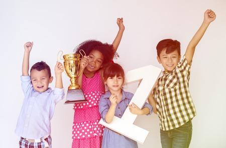 papercraft: Gorup of Kids Happiness Winner Trophy